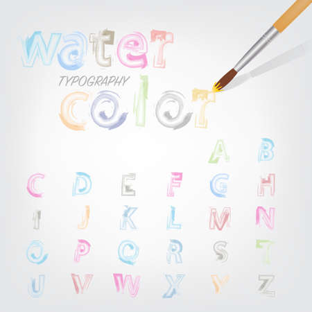 water color font style typography colorful shade