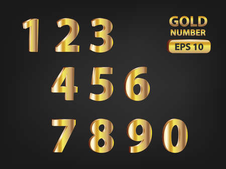 numeric: Gold numeric theme design with black background