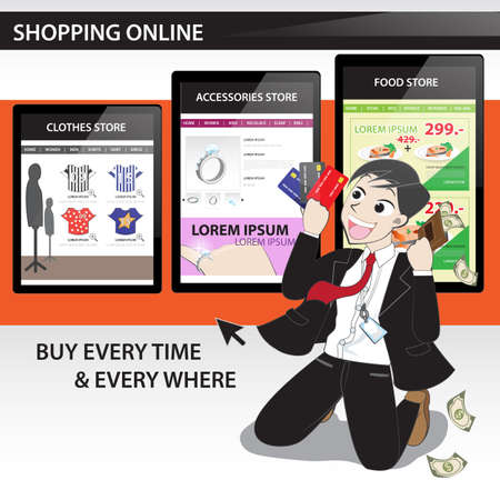 happy time with shopping online with cartoon character