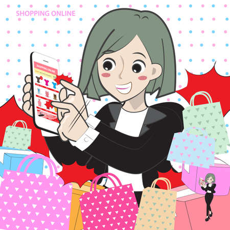 Lady cartoon shopping online with paper bag