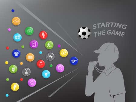 Euro football theme and sport icon