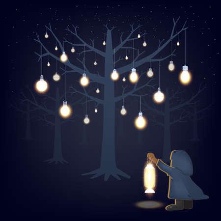 glow in the darkness cartoon illustration Ilustração