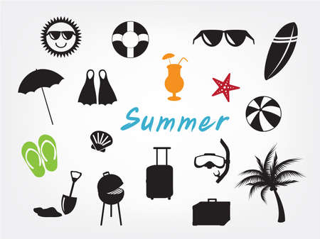 collection of summer icon set on white background