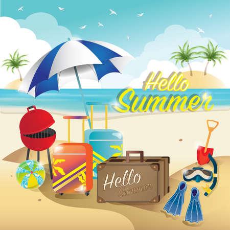 hello summer on the beach concept Ilustração