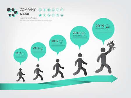 timeline and milestone in walking concept infographic Ilustração