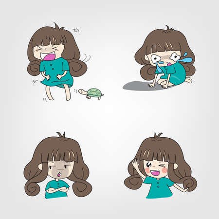 Cartoon girl with action and doing activities