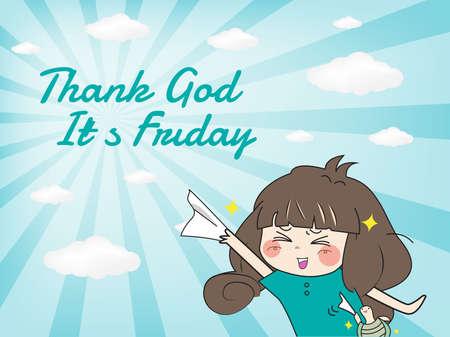 Thank god its friday (Happy moment) Vector eps10