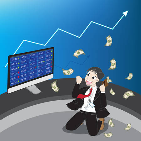 stock investment with cartoon character (Vector eps10) Ilustração