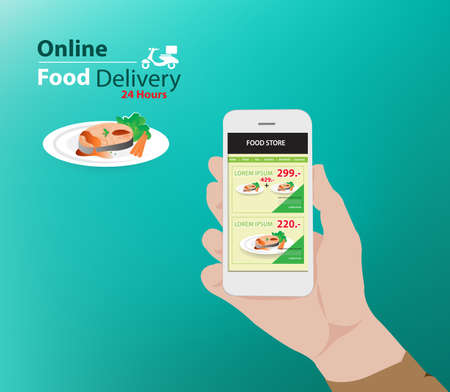 online food delivery advertisement with promotion menu (Vector eps10) Ilustração