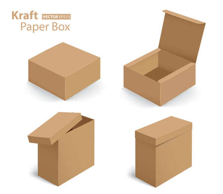 3d design kraft paper box on white background (Vector eps10)