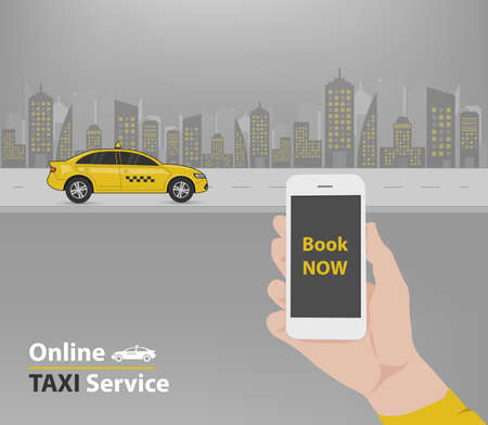 booking: Booking taxi application advertisement (Vector eps10) Illustration