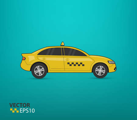 yellow Taxi car illustration isolated on green background (Vector eps10) Banco de Imagens - 61653821
