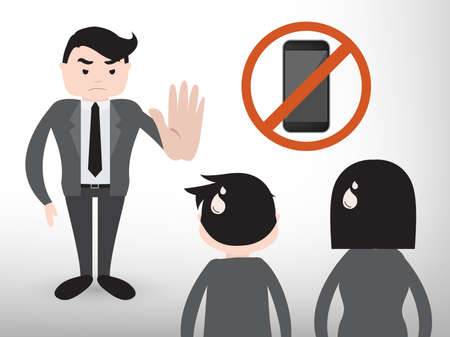 Stop use mobile phone infographic (Vector eps10) Ilustração