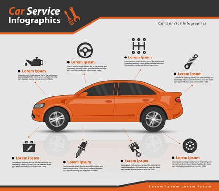 3d pomarańczowy samochód z części samochodowych (wektor eps10)