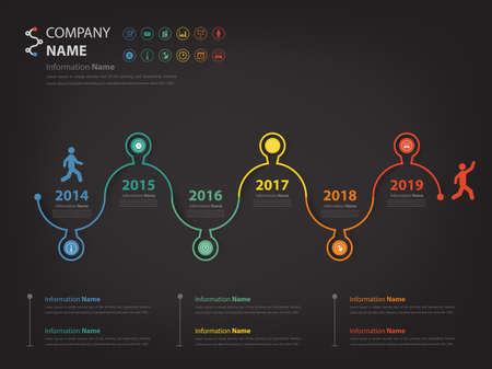 walk through: Milestone and timeline walk through concept infographic (Vector eps10) Illustration