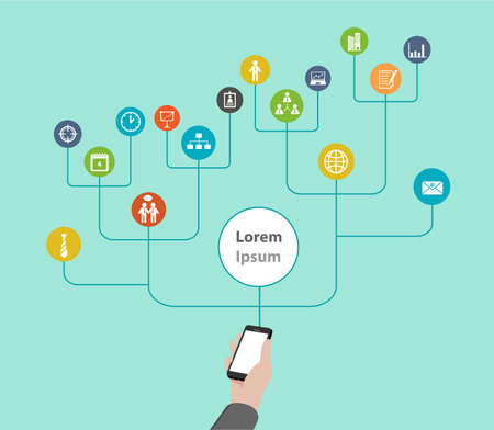 mobile application: Mobile application Diagram chart infographic (Vector eps10)