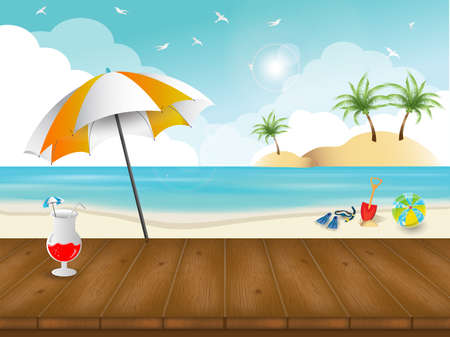 beach and summer theme background and wallpaper (Vector eps10) Ilustração