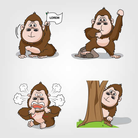 Collection of monkey action set (Vector eps10) Banco de Imagens - 60967346