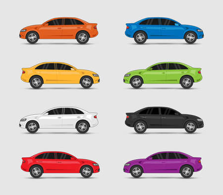 Collection of car in different colors (Vector eps10) Ilustração