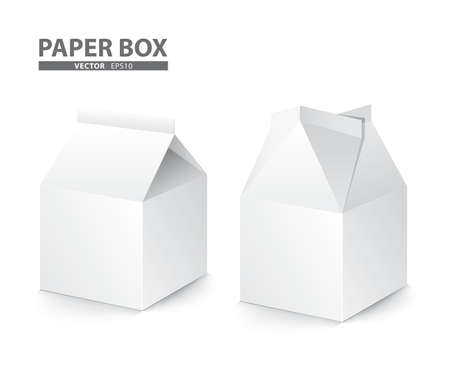 liquid package design paper box on white background