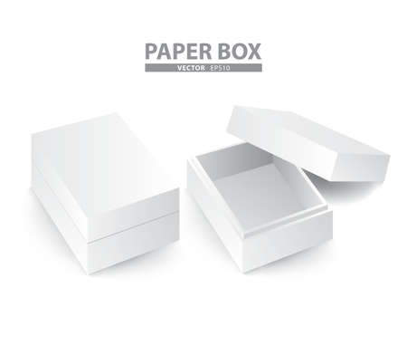 creative paper box set on white background (Vector eps10)