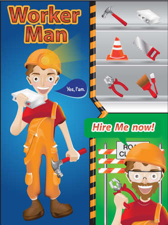 worker man cartoon character with tools