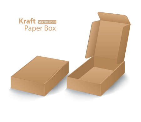 Kraft paper box creative design on white background Ilustração