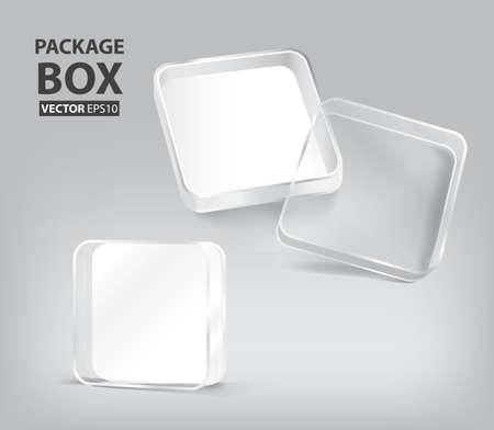 3d transparent plastic box package Ilustrace