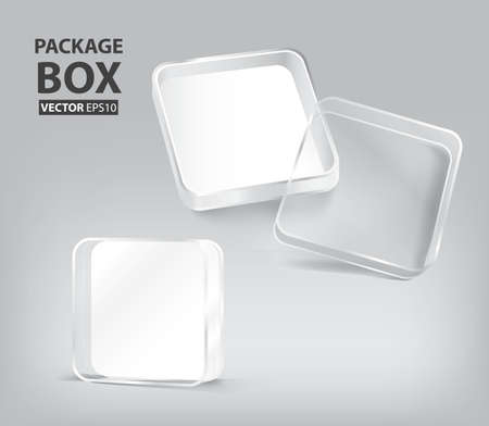 3d transparent plastic box package Ilustração