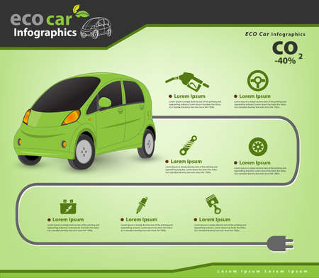 Eco Car and auto parts infographic (Vector eps10)