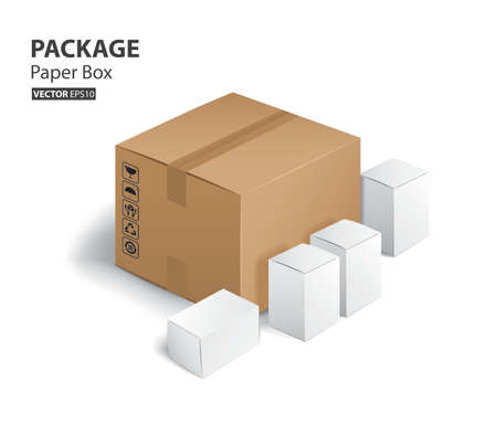 paper and white artcard box and package (Vector eps10)