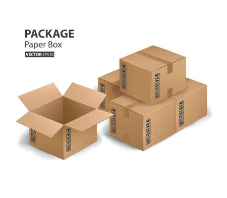kraft: Kraft paper box package and container (Vector eps10)