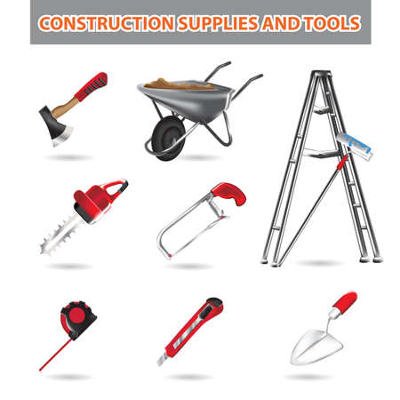 collection of 3d construction supplies and tools isolated on white background Ilustração