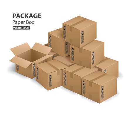 kraft paper box package and container (Vector eps10) Ilustração