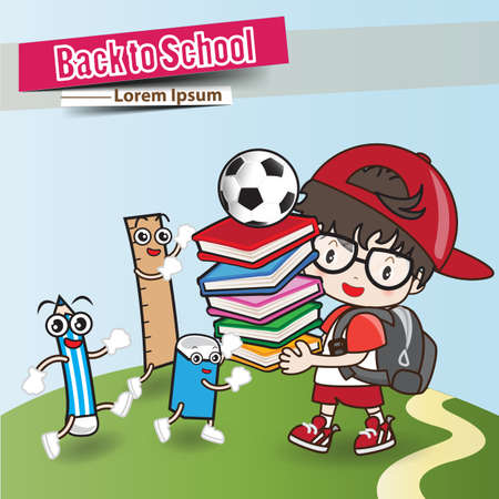 illustrators: back to school advertising promotion (Vector eps10) with cartoon character