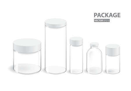 Collection of glass package and container Ilustração