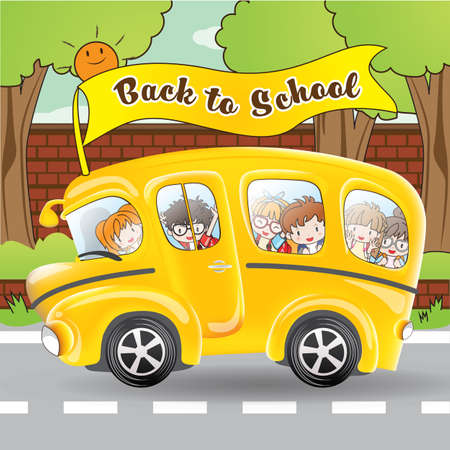 School bus and student by cartoon character