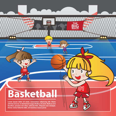 Basketball sport with cartoon character advertising poster