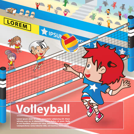 Volleyball sport and cartoon character advertising poster Ilustração
