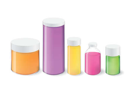 Collection of bottle and liquid container package Ilustração
