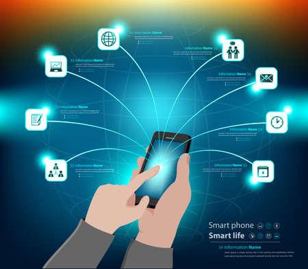 Mobile usage infographic and business presentation Illustration