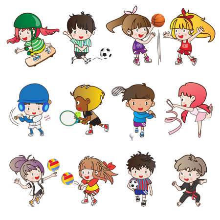 collection of sport activity and cartoon character Ilustração