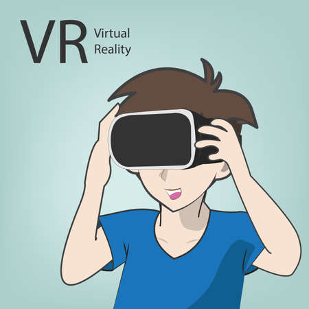 simulator: VR virtual reality simulator with cartoon character in vector eps10