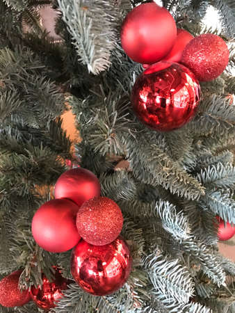 Closed up christmas tree with decoration Banco de Imagens