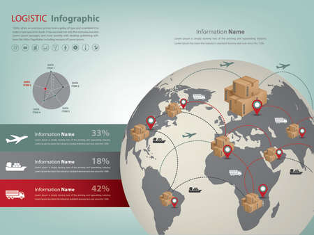 A transportation and logistic infographic (vector eps10) in global business for presentation. Ilustração