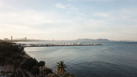 Yacht harbour and sea view in pattaya thailand with nice sky in the morning