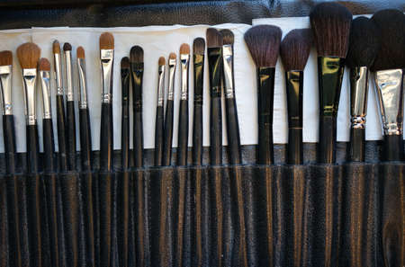 professional cosmetic brush set top view for make up artist