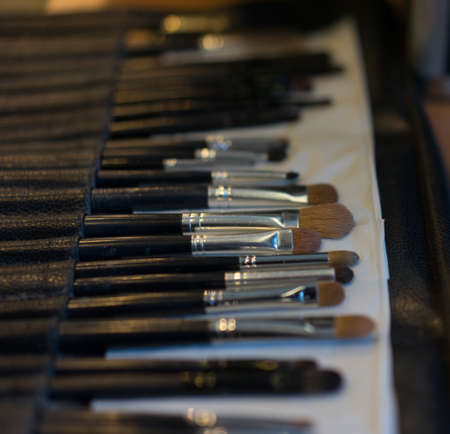 professional cosmetic brush set side view focused on center brush
