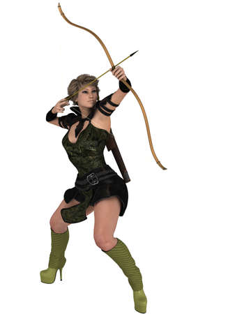 aiming: Human Female Archer Aiming Up