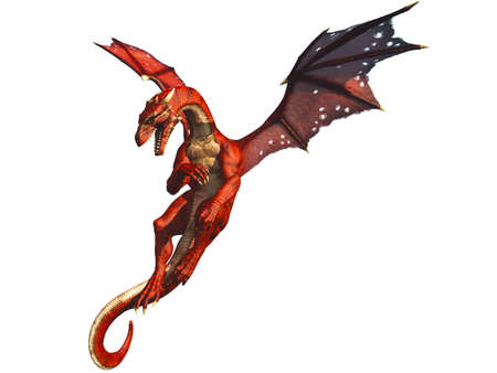 dragoon: Red Dragon Flying and Evading Attack Illustration